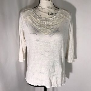 Lauren Conrad 3/4 Sleeve Lace Collar White Shirt L